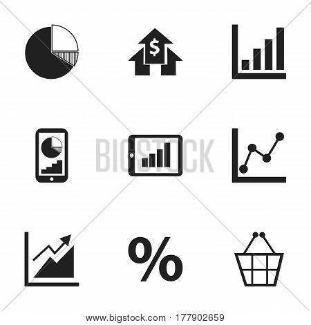 Set Of 9 Editable Statistic Icons. Includes Symbols Such As Graph Information, Circle Diagram, Percent And More. Can Be Used For Web, Mobile, UI And Infographic Design.