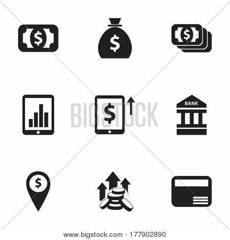 Set Of 9 Editable Investment Icons. Includes Symbols Such As Bar Graph, Holdall, Cash Growth And More. Can Be Used For Web, Mobile, UI And Infographic Design.