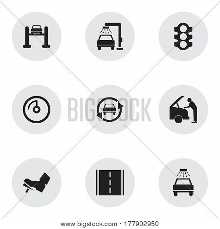 Set Of 9 Editable Transport Icons. Includes Symbols Such As Speed Display, Vehicle Wash, Highway And More. Can Be Used For Web, Mobile, UI And Infographic Design.