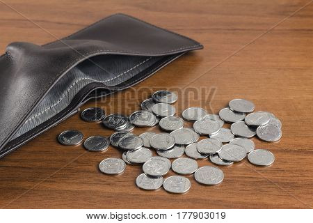 Wallet with ukrainian coins kopiyka on wooden background