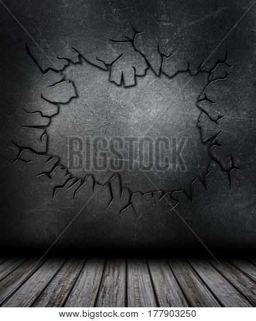 3D Grunge room interior with cracked metal wall