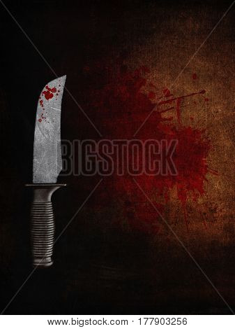 3D render of a bloody knife on a bloodstained grunge background