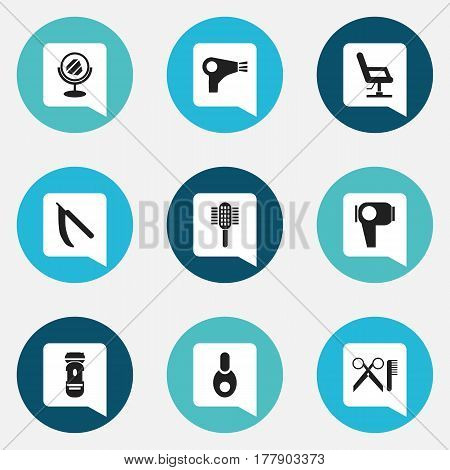 Set Of 9 Editable Coiffeur Icons. Includes Symbols Such As Peeper, Barber Tools, Hair Drier And More. Can Be Used For Web, Mobile, UI And Infographic Design.