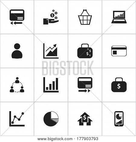 Set Of 16 Editable Statistic Icons. Includes Symbols Such As Cash Briefcase, Equalizer Display, Pay Redeem And More. Can Be Used For Web, Mobile, UI And Infographic Design.