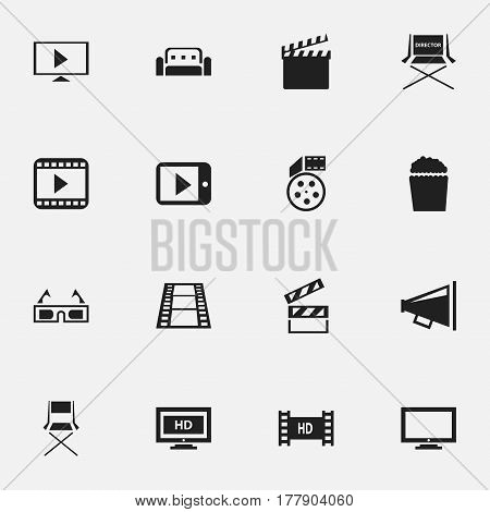 Set Of 16 Editable Movie Icons. Includes Symbols Such As 3D Vision, Cinema Snack, Loudspeaker And More. Can Be Used For Web, Mobile, UI And Infographic Design.
