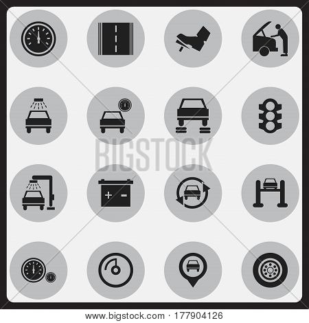 Set Of 16 Editable Transport Icons. Includes Symbols Such As Highway, Treadle, Stoplight And More. Can Be Used For Web, Mobile, UI And Infographic Design.