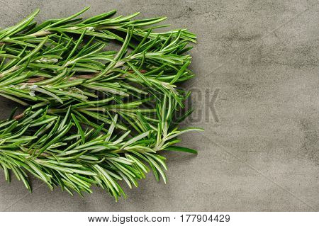 rosemary bunch on stone background, top view