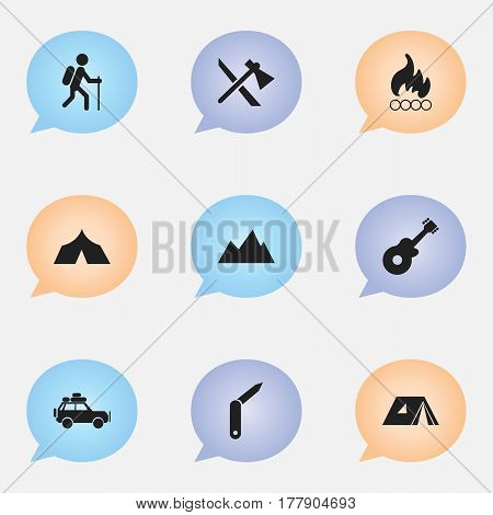 Set Of 9 Editable Camping Icons. Includes Symbols Such As Voyage Car, Shelter, Peak And More. Can Be Used For Web, Mobile, UI And Infographic Design.