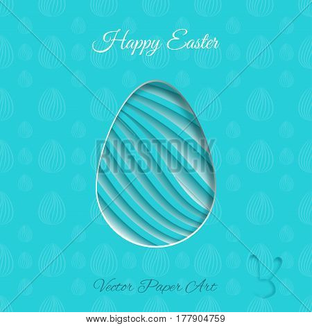 Vector poster of Easter egg with line geometric pattern shadow and text on the turquoise background with line pattern.