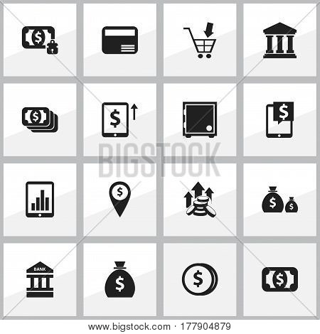 Set Of 16 Editable Banking Icons. Includes Symbols Such As Specie, Shopping Pushcart, Money Card And More. Can Be Used For Web, Mobile, UI And Infographic Design.