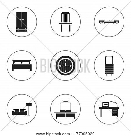 Set Of 9 Editable Furnishings Icons. Includes Symbols Such As Watch, Mattress, Interior And More. Can Be Used For Web, Mobile, UI And Infographic Design.