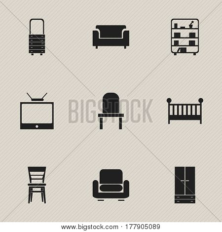 Set Of 9 Editable Furnishings Icons. Includes Symbols Such As Child Cot, Cabinet, Lectern And More. Can Be Used For Web, Mobile, UI And Infographic Design.