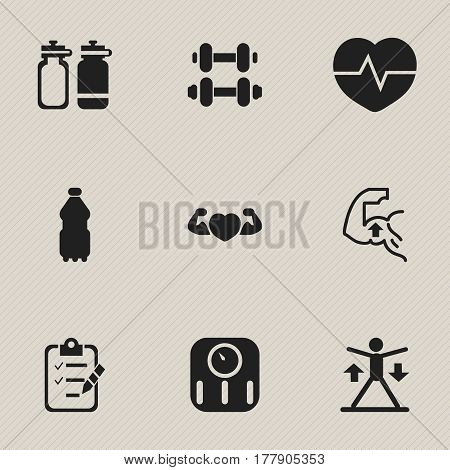 Set Of 9 Editable Lifestyle Icons. Includes Symbols Such As Hand Barbell, Sport Water, Muscle. Can Be Used For Web, Mobile, UI And Infographic Design.