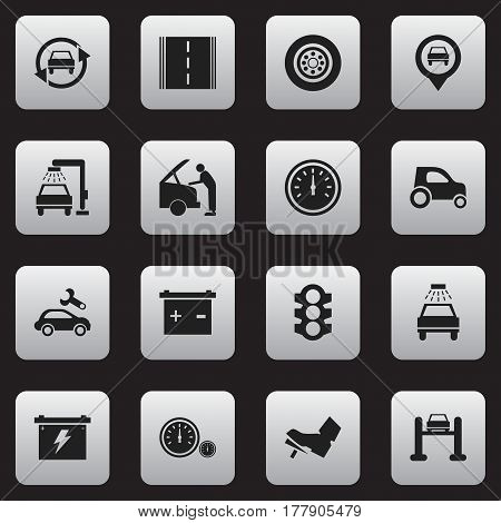 Set Of 16 Editable Vehicle Icons. Includes Symbols Such As Highway, Car Fixing, Auto Service And More. Can Be Used For Web, Mobile, UI And Infographic Design.