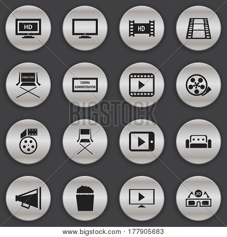 Set Of 16 Editable Cinema Icons. Includes Symbols Such As Hd Screen, Cinema Snack, Monitor And More. Can Be Used For Web, Mobile, UI And Infographic Design.