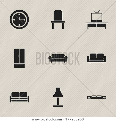 Set Of 9 Editable Interior Icons. Includes Symbols Such As Watch, Tv, Cupboard And More. Can Be Used For Web, Mobile, UI And Infographic Design.