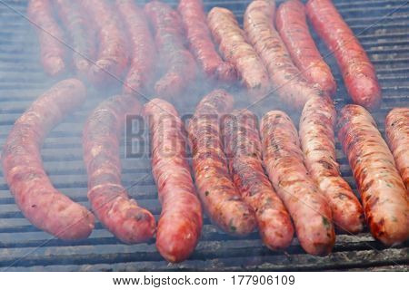close up of merguez on a barbecue