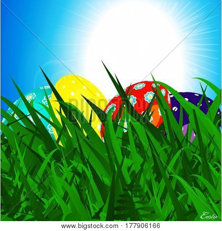 Close Up 3D Illustration of Decorated Easter Eggs Into Grass Over Sunny Blue Sky