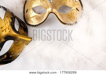 Carnival Masks On A Light Background. Theatre Day