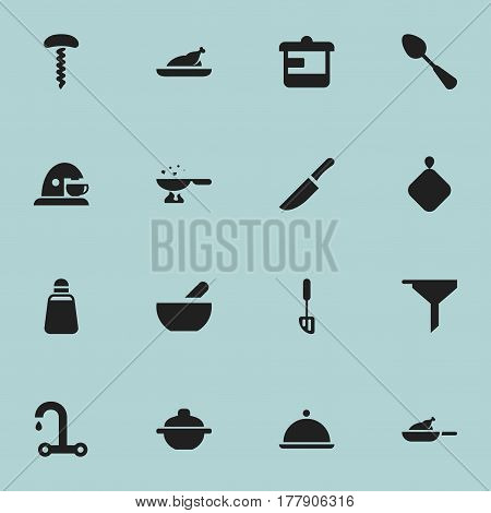Set Of 16 Editable Cook Icons. Includes Symbols Such As Spatula, Salver, Paprika And More. Can Be Used For Web, Mobile, UI And Infographic Design.