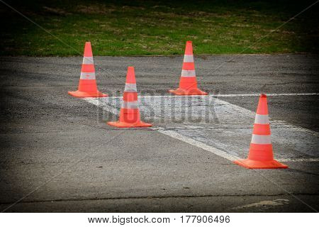 bright orange traffic cones