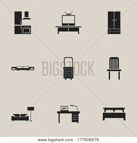 Set Of 9 Editable Furnishings Icons. Includes Symbols Such As Tv, Interior, Lamp And More. Can Be Used For Web, Mobile, UI And Infographic Design.