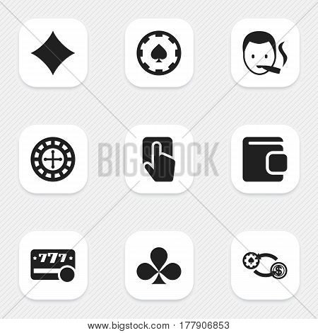 Set Of 9 Editable Business Icons. Includes Symbols Such As Swap, Shamrock, Billfold And More. Can Be Used For Web, Mobile, UI And Infographic Design.
