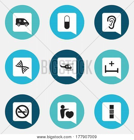 Set Of 9 Editable Health Icons. Includes Symbols Such As Wound Band, Drug, Clinic Room. Can Be Used For Web, Mobile, UI And Infographic Design.