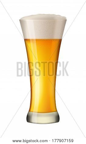 Cold beer in tall glass. Alcohol beverage in mug. Pint of gold lager with foam. Pub symbol. Excellent photo-realistic vector illustration isolated on white background