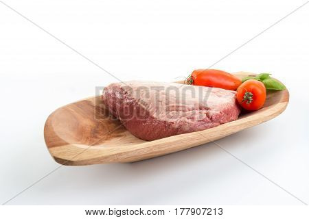 Full Piece Of Raw Cow Beef (picanha), Tomatoes And Basil On A Wood Rectangular Bow - White Backgroun