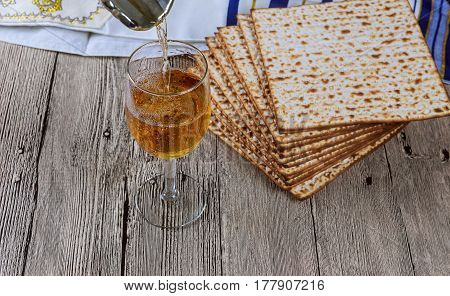 Matza Bread For Passover Celebration And Wine