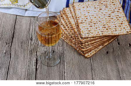 Matza Bread For Passover Celebration And Wine