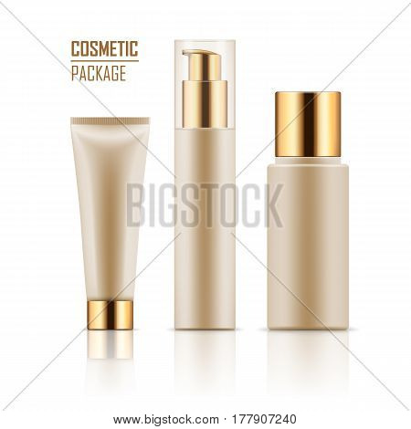 Blank template of white packages with gold caps: tube with hand cream, container for liquid lotion, bottle with dispenser pump. Vector collection of empty realistic mockup for cosmetic products.