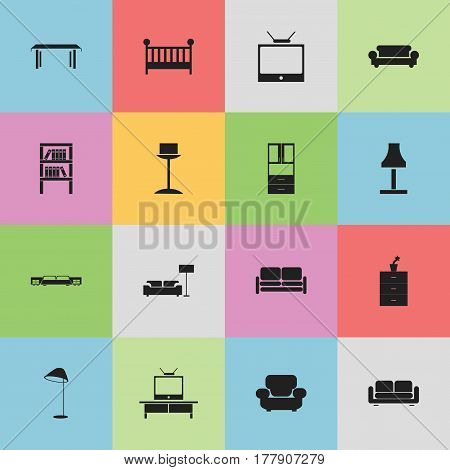 Set Of 16 Editable Furniture Icons. Includes Symbols Such As Mattress, Davenport, Tv And More. Can Be Used For Web, Mobile, UI And Infographic Design.