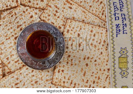 Matzo And Wine In For Passover Celebration
