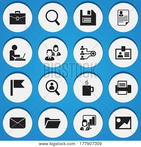 Set Of 16 Editable Company Icons. Includes Symbols Such As Architecture, Document, Portfolio And More. Can Be Used For Web, Mobile, UI And Infographic Design.