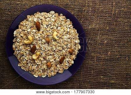 Muesli With Nuts Hazelnuts, Cashews. Muesli On A Wooden Table. Muesli Top View. Healthy Food .