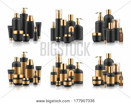 Vector sets of luxury cosmetic packaging on white background. Black blank templates of realistic containers with gold caps: bottles, care cream jar, body lotion and oil. Isolated vector illustration