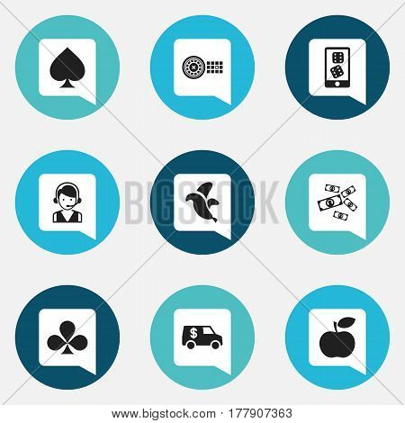 Set Of 9 Editable Casino Icons. Includes Symbols Such As Call Center, Jungle Fruit, Greenback And More. Can Be Used For Web, Mobile, UI And Infographic Design.