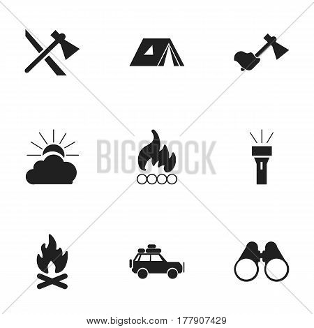 Set Of 9 Editable Camping Icons. Includes Symbols Such As Voyage Car, Blaze, Sunrise And More. Can Be Used For Web, Mobile, UI And Infographic Design.