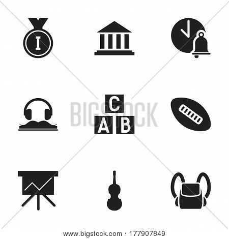 Set Of 9 Editable Education Icons. Includes Symbols Such As Fiddle, Schoolbag, Alphabet Cube And More. Can Be Used For Web, Mobile, UI And Infographic Design.