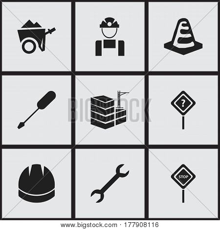 Set Of 9 Editable Building Icons. Includes Symbols Such As Hardhat, Turn-Screw, Building And More. Can Be Used For Web, Mobile, UI And Infographic Design.