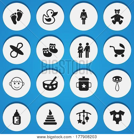 Set Of 16 Editable Kid Icons. Includes Symbols Such As Rattle, Spoon, Stroller And More. Can Be Used For Web, Mobile, UI And Infographic Design.