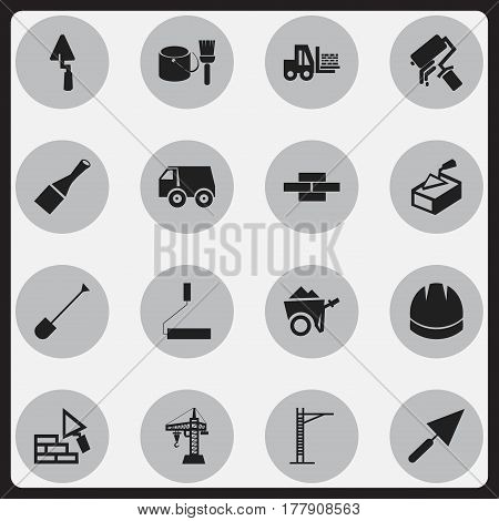 Set Of 16 Editable Construction Icons. Includes Symbols Such As Hoisting Machine, Stone, Handcart. Can Be Used For Web, Mobile, UI And Infographic Design.