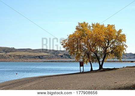 Fall color at Oahe Downstream State Park in South Dakota