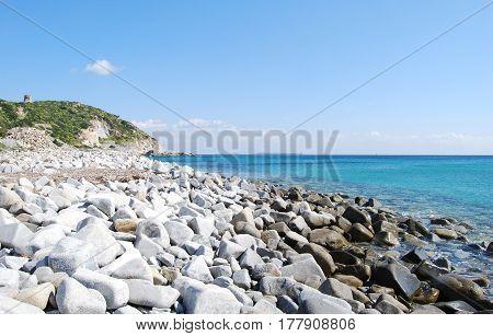Cava Usai beach at Villasimius (Sardinia Italy). Rocks blue sea and sunny day with nobody