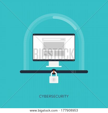 Cybersecurity system Internet protection concept vector illustration