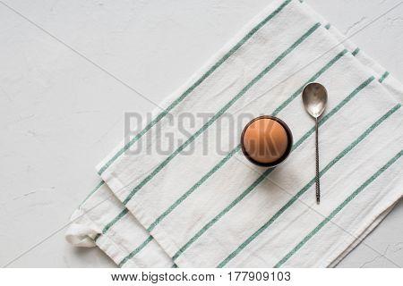 Boiled Egg Teaspoon White Napkin Top View Vintage