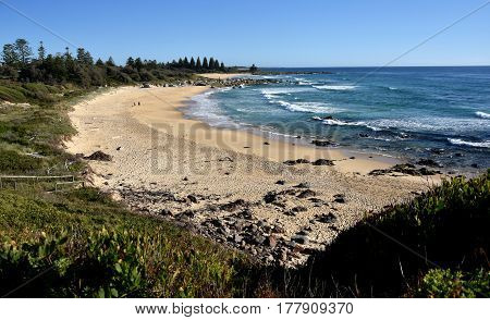 Beach of Tuross Head at morning in summertime. Tuross Head is a seaside village on the south coast of New South Wales Australia.