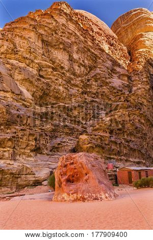 Lawrence Memorial Bedouin Camp Barrah Siq Wadi Rum Valley of the Moon Jordan. Barrah Siq is where Prince Abdullah first Met TE Lawrence of Arabia in the early 1900s